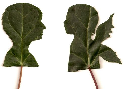 siluetas en hojas por Jenny Lee Fowler