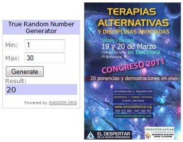Ganadores sorteo 10 entradas Congreso Terapias Alternativas Barcelona 2011