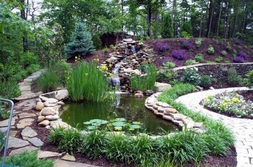 La colocaci n de fuentes albercas estanques y acuarios - Jardin con estanque ...